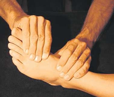 Durch sanften Druck oder Zug können Funktionsstörungen an den Gliedmaßen osteopathisch behoben werden. FOTOS: HFR