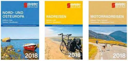 Der Hamburger Reiseveranstalter Schnieder Reisen hat neue Kataloge für die Saison 2018 aufgelegt: Den Hauptkatalog Nord- und Osteuropa 2018, Radreisen 2018 und Motorradreisen 2018.