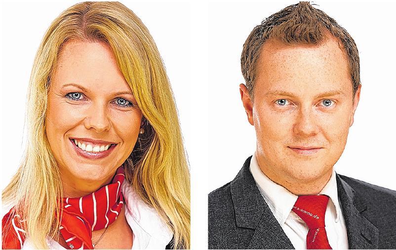 Stellvertretend für über 30 Berater für Immobilien- und Geschäftskunden der Sparkasse Holstein: Anja Hagen (Stockelsdorf) und Benjamin Herrmann (Bad Schwartau).