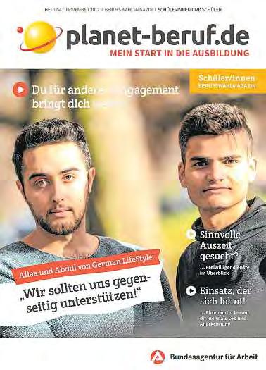 In der Ausgabe November 2017 des Magazins planet-beruf finden sich viele Infos zu Freiwilligendiensten. FOTO: HFR